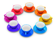Color coffee cups arranged in circle Stock Photography