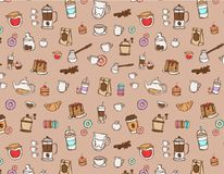 Color Coffee hand drawn pattern Stock Images