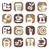 Color coffee icons set Stock Photos