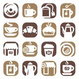 Color coffee and tea icons Royalty Free Stock Image