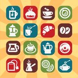 Color coffee and tee icons Stock Image