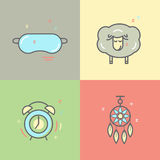 Color collection of isolated  line icons with sleep problems and insomnia symbols Stock Photography