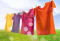 Colorful t-shirts hanging on rope with green field Royalty Free Stock Images
