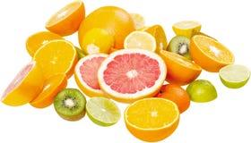 Colorful ripe sliced fruits isolated on white stock image