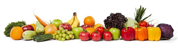Colorful ripe vegetables and fruits on stock photography