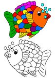 Color coloring book for young children - colorful fish Royalty Free Stock Image
