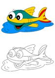 Color coloring book for young children - colorful fish Royalty Free Stock Photo