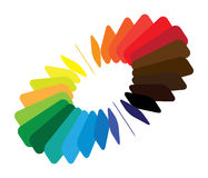 Color(colour) wheel/fan with smooth/round blades. Blocks forming a color(colour) wheel/fan with smooth rounded blades and brilliant, bright and vivid colors like Royalty Free Stock Photography