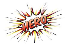 Color comic speech bubble and banner with text HERO. Vector Illustration royalty free illustration