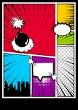 Color comics book cover vertical backdrop Royalty Free Stock Photo