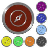 Color compass buttons. Set of color glossy coin-like compass buttons Stock Photography