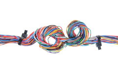 Color computer cable with cable ties Royalty Free Stock Images