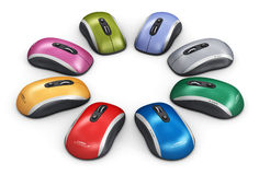 Color computer mouse arranged in circle stock illustration