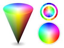 Color cone. Vector color cone and wheels representing RGB color space Stock Photo