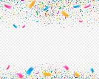 Color confetti carnival party background. Falling confetti ribbons. Fiesta celebration, birthday or festival vector illustration royalty free illustration