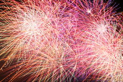 Color Confusion, Firework. Firework display showing exploding rockets with brilliant color.Copy space stock photography