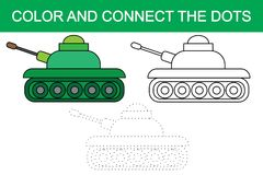 Color and connect the dots of image of cartoon tank transport. Vector vector illustration