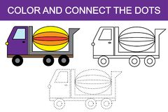 Color and connect the dots to create concrete mixer transport. Vector illustration Stock Illustration