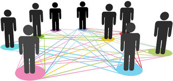 Color connections network social business people. Color connections link a group of social business people nodes in a network