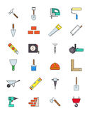 Color construction icons set. Set of 24 color construction icons Royalty Free Stock Images