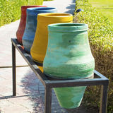 Color containers for sorting of garbage. On streets of Egypt Royalty Free Stock Photography