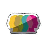color contour humans icon Royalty Free Stock Image