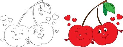 Before and after, color and contour kawaii drawing of a cherry, with hearts, for children`s coloring book or Valentine`s Day card royalty free illustration