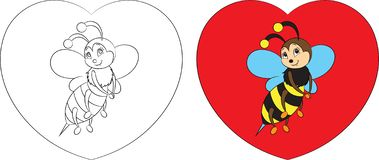 Before and after, color and contour kawaii drawing of a little bee on a heart for children`s coloring book or Valentine`s Day card. Adorable save the bees stock illustration