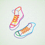 Color contour of sneakers. A colored outline of sneakers on a grey background Stock Photos