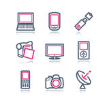 Color contour web icons, 16 Stock Photography