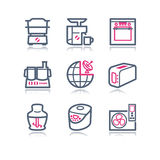 Color contour web icons, 17 Royalty Free Stock Image