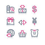 Color contour web icons, 24. Vector icons set for internet, website, guides Royalty Free Stock Image