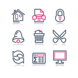 Color contour web icons, 7 Royalty Free Stock Image