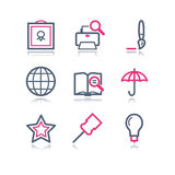 Color contour web icons, 9 Royalty Free Stock Photo