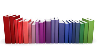 Color coordinated books. A row of color coordinated books. 3D render Royalty Free Stock Photography