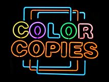 Color Copies. Neon sign Stock Image