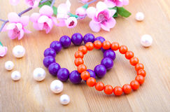 Color coral bangles Royalty Free Stock Photography