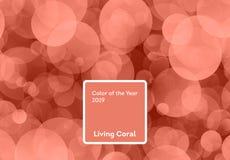 Color coralino de vida del año 2019 Fondo de Bokeh con el coral en color de moda foto de archivo libre de regalías