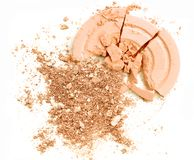 Color cosmetic powder color orange crushed make up blusher. Stock Photography