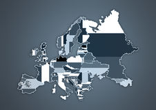 Color Country Map of Europe Royalty Free Stock Photography