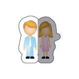 Color couple with blond hair icon Stock Photography