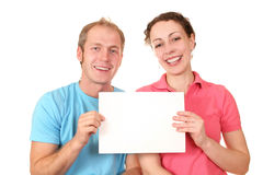 Color couple with card Stock Images