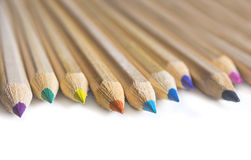 Color crayon pencils  on white background Royalty Free Stock Photo