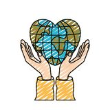 Color crayon silhouette hands with floating earth globe world in heart shape. Vector illustration royalty free illustration