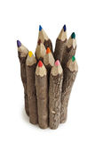Color crayons from 45 degree. Color crayons shot on white background Royalty Free Stock Image