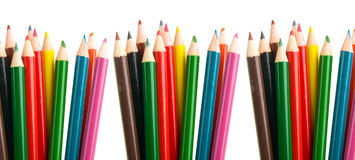 Color crayons pencils. In white background Stock Photos
