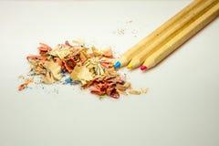 Color crayons pencils sharpener. Primary colors crayons pencils sharpener Stock Images