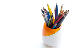 Color crayons on the white background Stock Photos