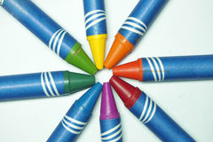 Color crayons. Yellow red green blue Stock Image