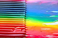 Color Creative Background. Conceptual creative shot of colorful pencils and painting royalty free illustration